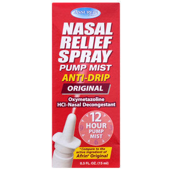 Assured 12-Hour Nasal Relief Mist Spray, .5-oz. Bottle