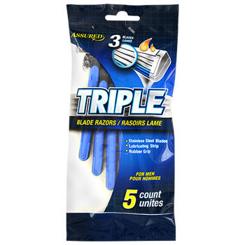 Assured Triple-Blade Razors for Men, 5-ct. Pack