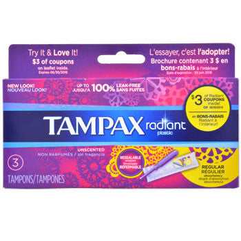 Tampax Radiant Regular Absorbency Tampons, 3-ct. Box
