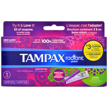 Tampax Radiant Super Absorbency Tampons, 3-ct. Box