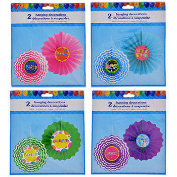Colorful Hanging Paper Fan Decorations, 2-ct. Packs