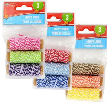 Crafter's Square Colorful Bakers Twine, 3-Roll Pack