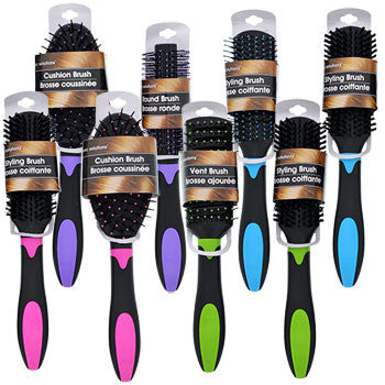 Basic Solutions Assorted Colorful Plastic Hair Brushes (Set of 3)