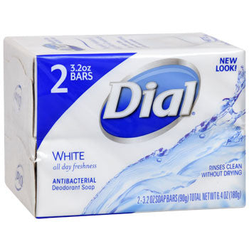 Dial White Antibacterial Deodorant Soap, 2-bar Pack