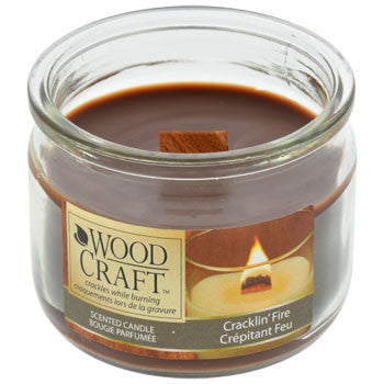 Wood Craft Cracklin' Fire Scented Glass Jar Candles
