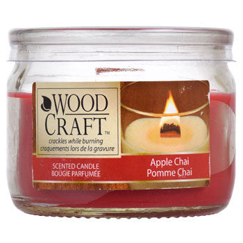 Wood Craft Apple Chai Scented Glass Jar Candles