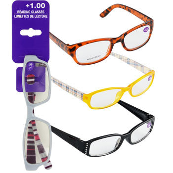 Fashion Reading Glasses with +1.00 Diopters (Set of 3)