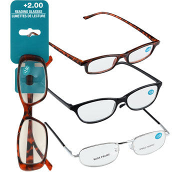 Fashion Reading Glasses with +2.00 Diopters (Set of 3)
