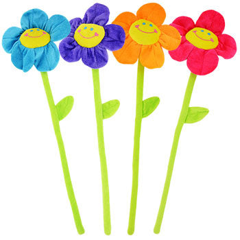 Fuzzy Friends Plush Flowers with Bendable Stems, 20 in.