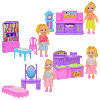 Mini Dolls with Doll House Furniture Sets
