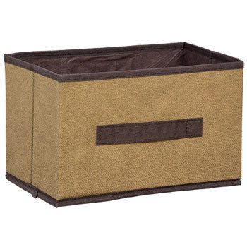 Essentials Brown Collapsible Storage Container with Handles, 6.25x10.5x6.5 in.