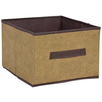 Essentials Brown Collapsible Storage Container with Handles, 11x11x8 in.