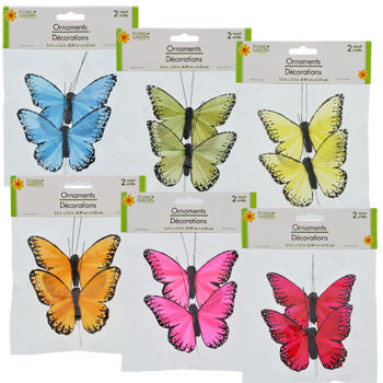 Feathery Butterfly Ornaments, 2-ct. Pack