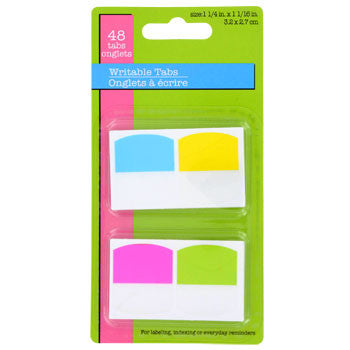 Colored Writable Page-Marker Tabs, 48-ct. Pack