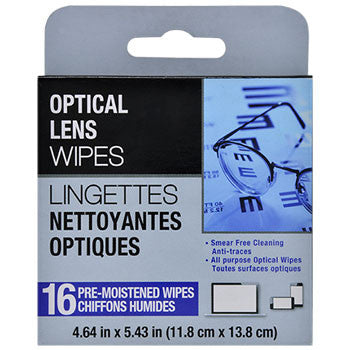 Pre-Moistened Optical Lens Wipes, 16-ct. Pack