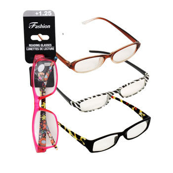 Stylish Plastic Reading Glasses with +1.25 Diopter (Set of 3)