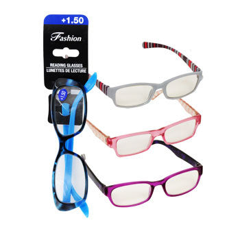 Stylish Reading Glasses with +1.50 Diopter (Set of 3)