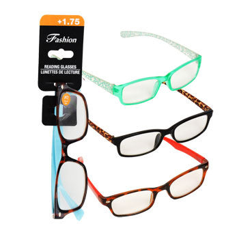 Stylish Reading Glasses with +1.75 Diopter (Set of 3)