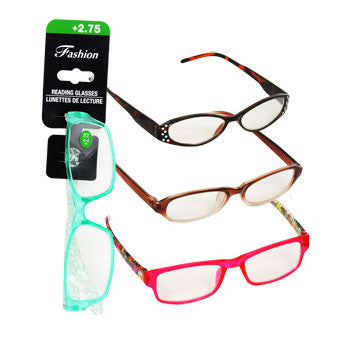 Stylish Reading Glasses with +2.75 Diopter (Set of 3)