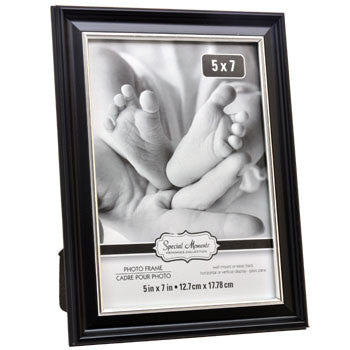 Black Plastic Photo Frame with Silver Plastic Inner Edge, 5x7""