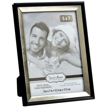 Smooth Silver-Colored Inner Edge Black Plastic Photo Frame, 5x7""