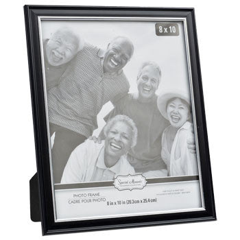 Black Plastic Photo Frame with Silver Plastic Inner Edge, 8x10""