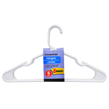 Essentials White Plastic Hangers, 8-ct. Bonus Pack