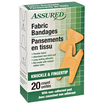 Assured Knuckle and Fingertip Fabric Bandages, 20-ct. Box