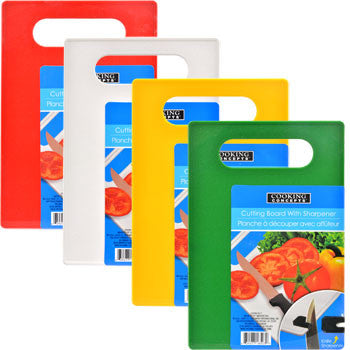 Cooking Concepts Plastic Cutting Board with Sharpener