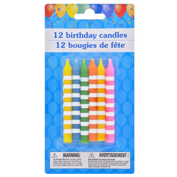 Colorful Striped Birthday Candles, 12-ct. Pack