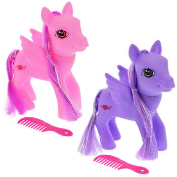 Bright Plastic Winged Pony with Comb, 5""