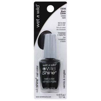 Wet n' Wild Black Creme Nail Polish, .43 oz.