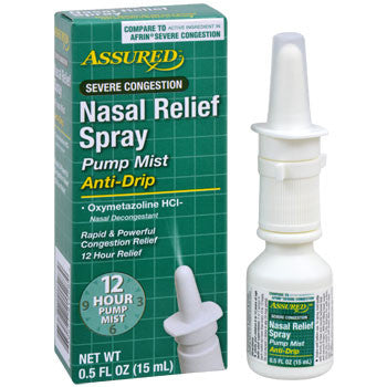 Assured Severe Congestion Nasal Relief Spray, 0.5-oz. Bottle