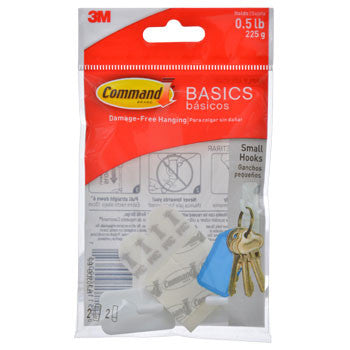 3M Command Basics Small Plastic Hooks, 2-ct. Pack