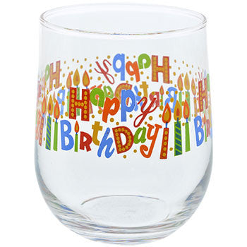 Glass Stemless Happy Birthday Printed Glass, 16 oz.