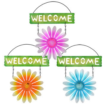 Garden Collection Metal Flower Welcome Sign