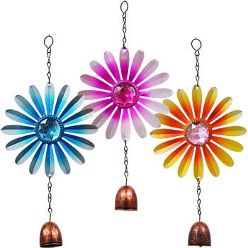 Garden Collection Hanging Metal Flower Decorations with Bells