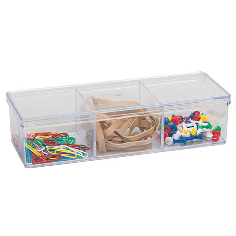 Clear Plastic 3-Compartment Storage Tray with Lid