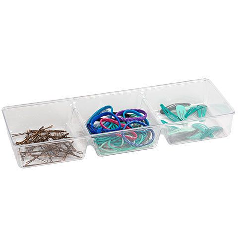 Clear Plastic 3-Compartment Storage Tray