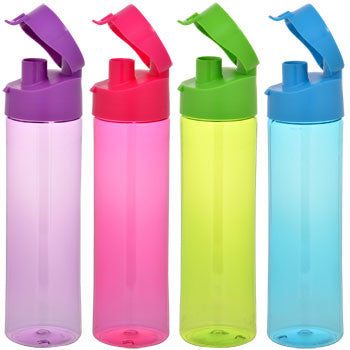 Cylindrical Plastic Water Bottle with Flip-Top Lid, 22 oz.