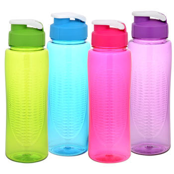 Colorful Plastic Water Bottle with Flip-Top Lid, 24 oz.