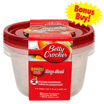 Betty Crocker Easy Seal Round Plastic Food Storage Containers, 3-ct. Bonus Pack
