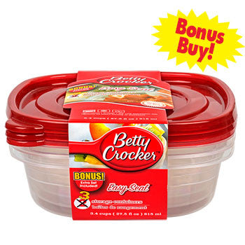 Betty Crocker Easy Seal Square Storage Containers, 3-ct. Bonus Pack