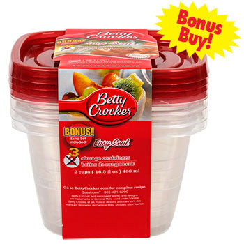 Betty Crocker 16.5-oz. Square Plastic Storage Containers with Lids, 3-ct. Pack