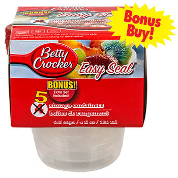 Betty Crocker Easy Seal Round Storage Containers, 5-ct. Bonus Pack
