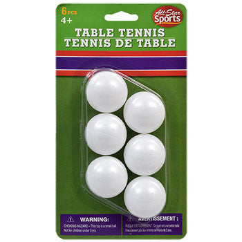 All-Star Sports Plastic Table Tennis Balls, 6-ct. Pack