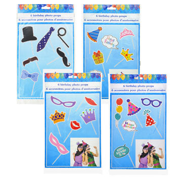 Birthday Photo Props, 6-ct. Packs (Set of 4)
