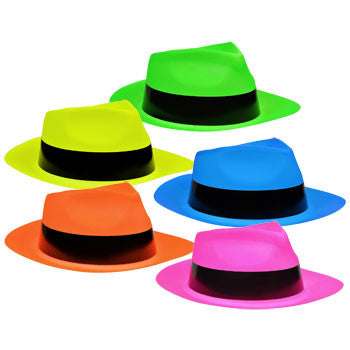 Neon Plastic Fedora-Shaped Party Hat