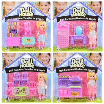 Mini Dolls with Doll House Furniture Set
