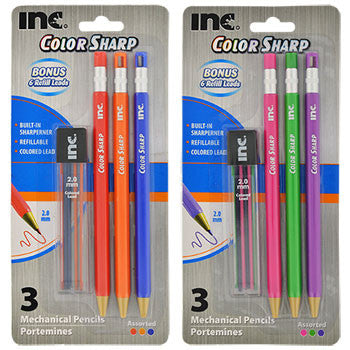 Inc. Color Sharp Mechanical Colored Pencils with Lead Refills, 3-ct. Pack (Set of 2)